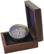 Kompasz réz, fa dobozban