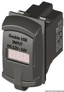 USB csatlakozó aljzat+voltmérő