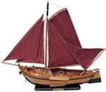 Hajómodell fa talpon vitorlás