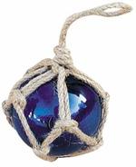 Díszgömb, kötélhálóban, kék