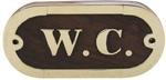 Ajtófelirat fa/réz W.C.