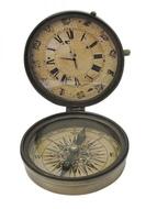 Kompasz+óra antikolt réz