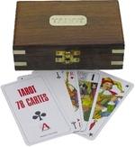 Kártya fa dobozban, fa/réz