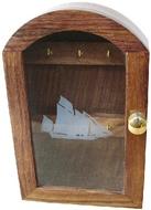 Kulcstartó doboz fa/rézüveges
