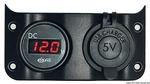 Voltmérő+USB csatlakozó panel